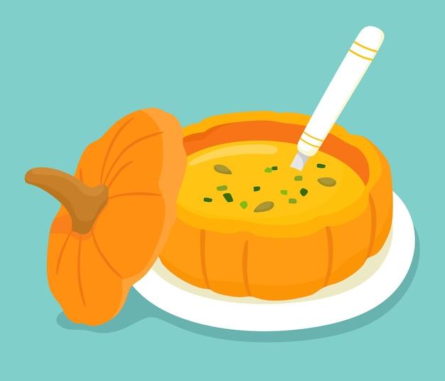 Sopa de calabaza en calabaza. ilustración en estilo plano de dibujos animados.