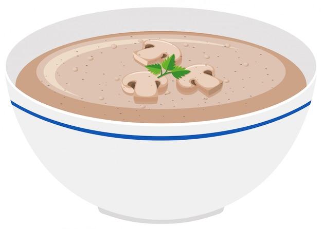 Sopa crema de champiñones en un tazón