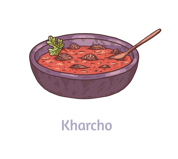 Sopa de kharcho picante de la cocina georgiana caucásica, ilustración de vector de boceto dibujado a mano aislado en superficie blanca