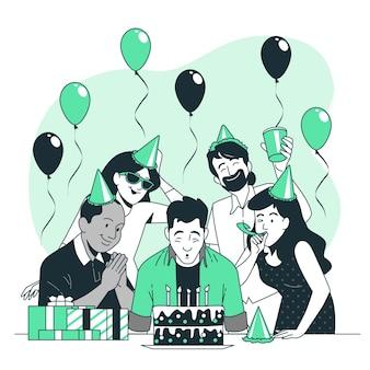 Soplando velas de cumpleaños concepto ilustración