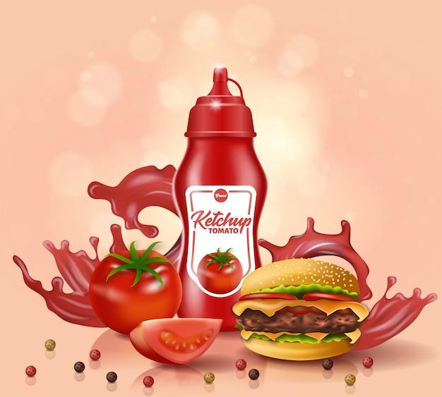 Soporte para botella de salsa de tomate cerca de tomate fresco y hamburguesa