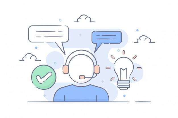 Soporte de contacto e ilustración de servicio al cliente