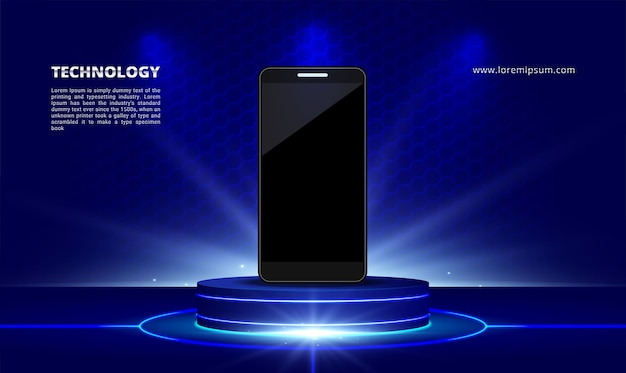 Soporte de exhibición de productos de tecnología científica luz azul