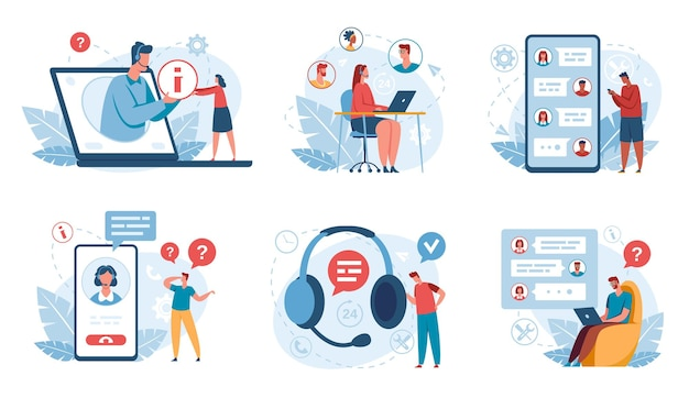 Soporte en línea los operadores de servicio al cliente ayudan a los clientes asistencia del centro de llamadas de línea directa asistente virtual