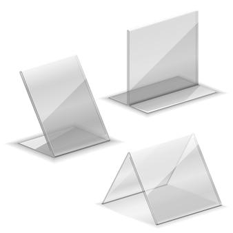 Soporte de plástico acrílico vacío para tarjetas de visita. soporte para soporte de tarjeta de presentación en la ilustración de la mesa