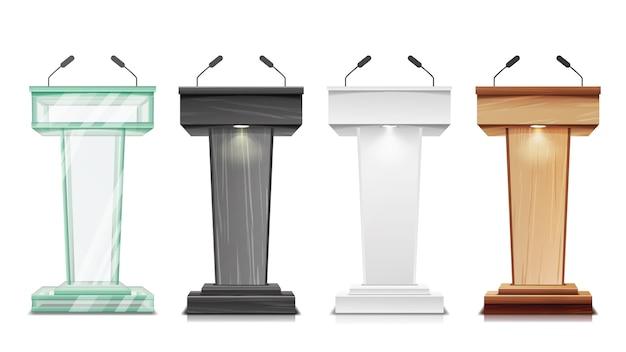Soporte de podio con ilustración de micrófonos