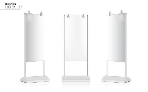 Soporte realista roll up banner kiosk display 3d pop booth con foco