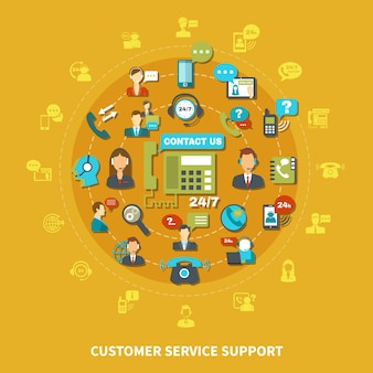 Soporte de servicio al cliente composición redonda sobre fondo amarillo