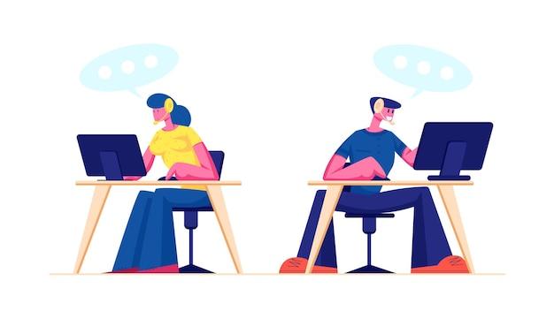 Soporte técnico, centro de llamadas o personal de servicio al cliente en auriculares trabajando en computadoras. ilustración plana de dibujos animados