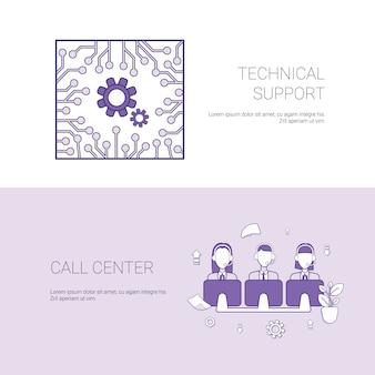 Soporte técnico y centro de llamadas plantilla de concepto de servicio web banner con espacio de copia