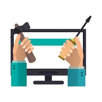 Soporte técnico informático de manos con herramientas.