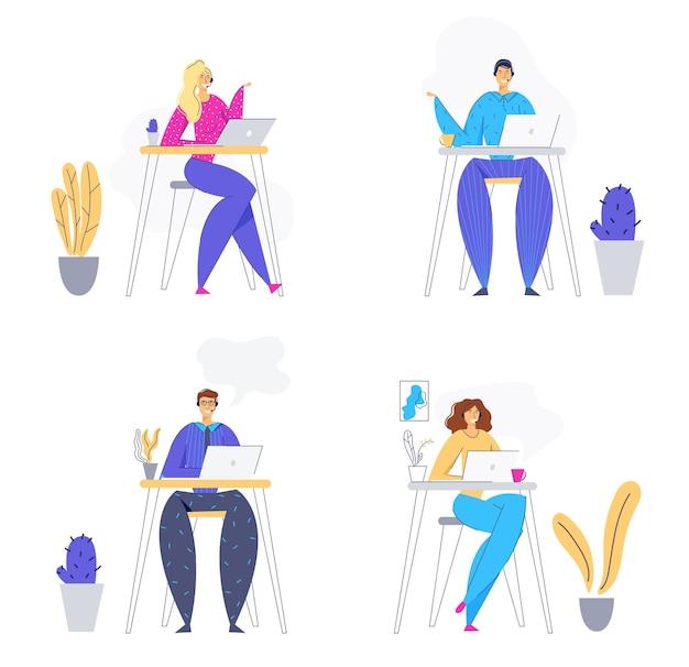 Soporte técnico en línea 24/7 concepto con personajes de hombre y mujer que consultan al cliente a través de auriculares. asistencia en línea, operador del centro de llamadas de la línea de ayuda.