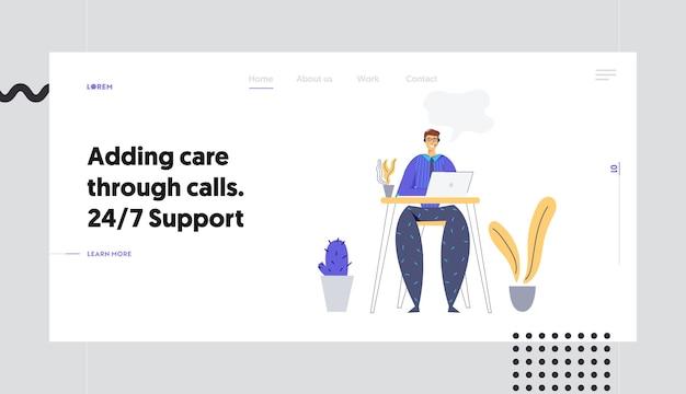 Soporte técnico en línea 24/7 página de inicio de concepto con el cliente de consultoría man character a través de auriculares. asistencia en línea, sitio web del operador del centro de llamadas de la línea de ayuda masculina, banner.
