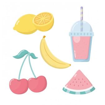 Sorbete de fruta fresca set iconos