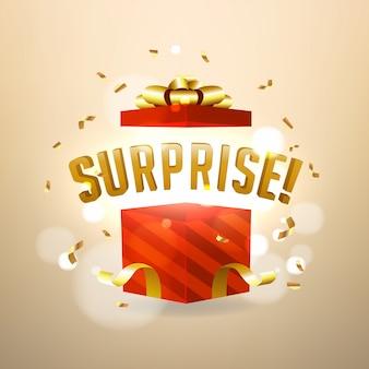 Sorpresa dentro de una caja de regalo roja abierta