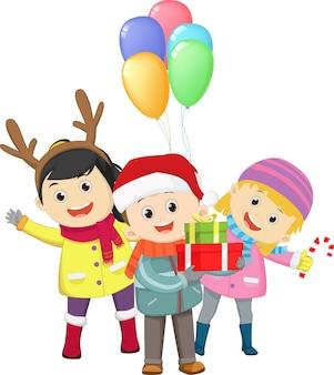 Sorpresa fiesta de navidad de niños