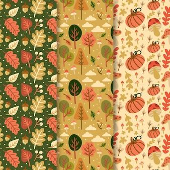 Sorteo de colección de patrones de otoño