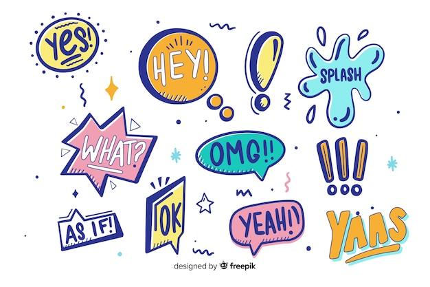 Sorteo de coloridas burbujas de discurso