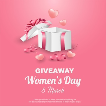 Sorteo del día de la mujer feliz con caja de regalo y cinta