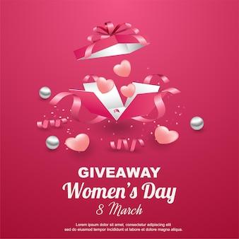 Sorteo feliz del día de la mujer con caja de regalo abierta