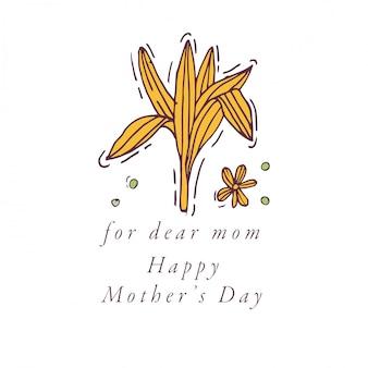 Sorteo de mano para tarjeta de felicitación del día de la madre color colorido. tipografía e icono para fondo de vacaciones de primavera, pancartas o carteles y otros imprimibles.