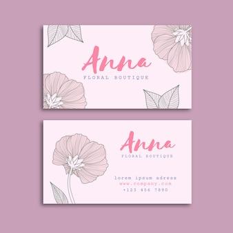 Sorteo realista de plantilla de tarjeta de visita floral