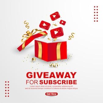 Sorteo para suscribirse con caja de regalo realista e ícono de youtube