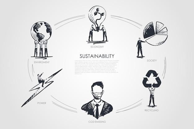 Sostenibilidad, economía, sociedad, reciclaje, emisión de co2, infografía medioambiental