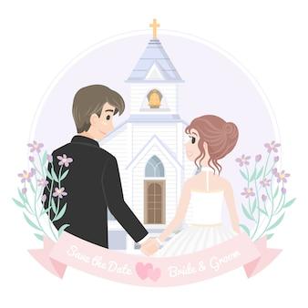 Sosteniendo la mano pareja de boda con la iglesia