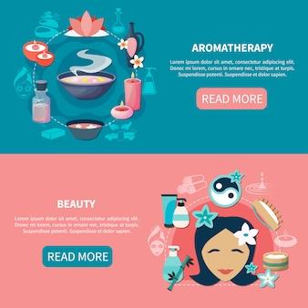 Spa aromaterapia belleza banners planos