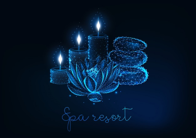 Spa concepto futurista con flor de loto de poli baja brillante, velas aromáticas y piedras de zen.