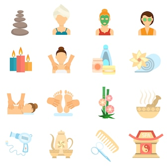 Spa icons flat