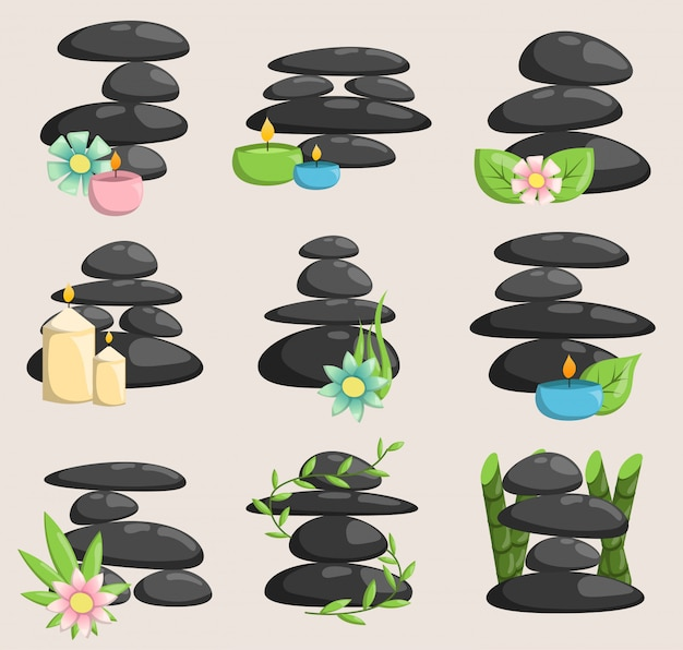Spa piedras vector aislado y relajación aislado. las piedras apilan la terapia aislada del concepto del guijarro, las piedras del balneario del montón belleza tranquilo tranquilo