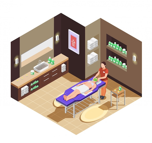 Spa salón de belleza con mujer recibiendo un masaje