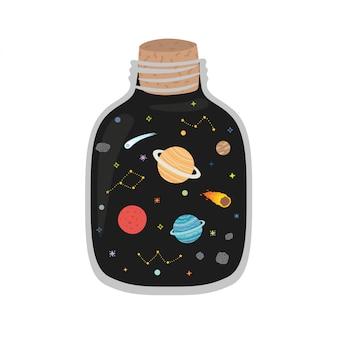 Space galaxy en el frasco. impresión del vector
