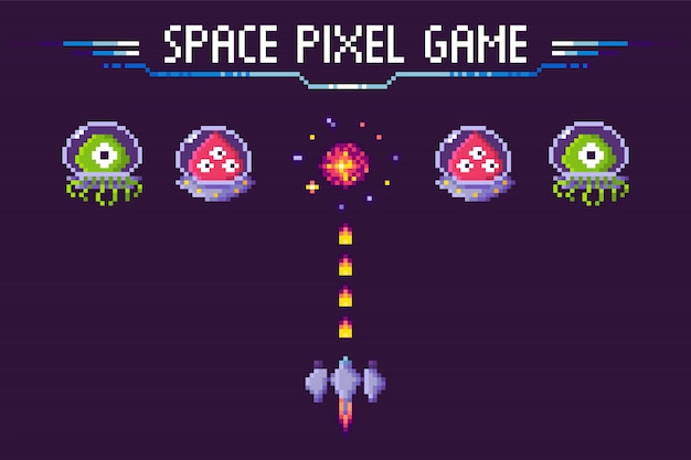 Space pixel game aliens and spaceship pixelated