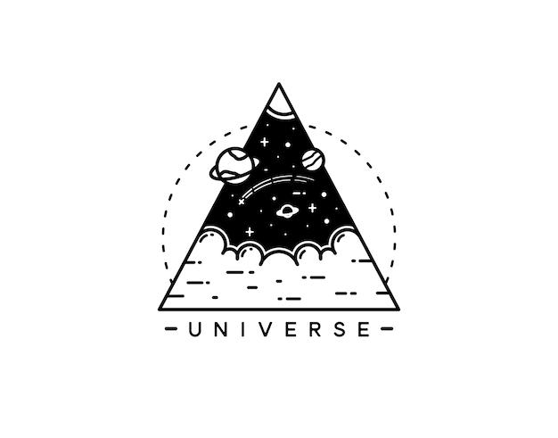 Space planet vintage tattoo monoline design