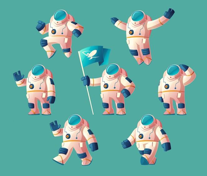 Spaceman de dibujos animados, cosmonauta en movimiento en traje espacial, casco aislado sobre fondo azul
