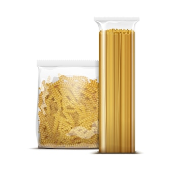 Spaghetti y fusilli pasta espiral plantilla de embalaje aislada