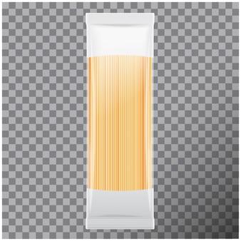 Spaghetti, paquete de pasta capellini, sobre fondo transparente. ilustración