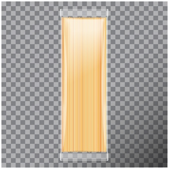 Spaghetti, paquete transparente de pasta capellini, sobre fondo transparente. ilustración