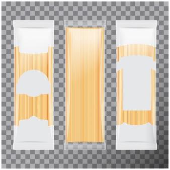 Spaghetti, plantilla de paquete de pasta capellini, sobre fondo transparente. ilustración