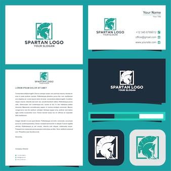 Spartan logo y conjunto de tarjetas de visita