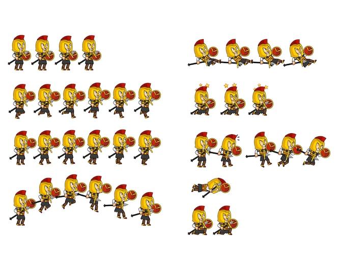 Spartan warrior personaje de dibujos animados animación sprite