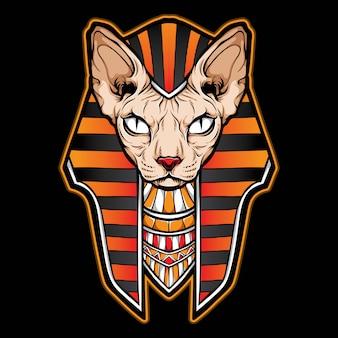 Sphynx cat logo egipcio
