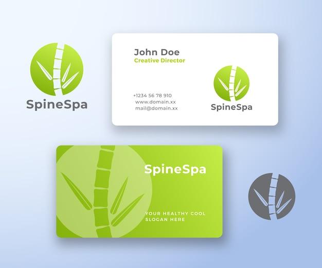 Spine spa resumen logotipo y tarjeta de visita