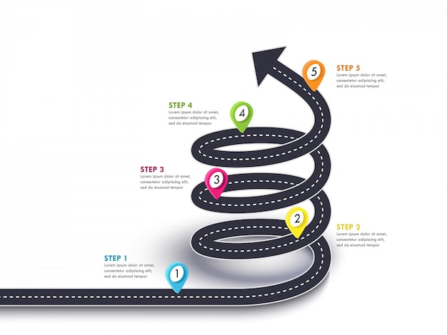 Spiral arrow road to success. viaje por carretera y ruta de viaje con puntero y lugar para sus datos