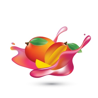 Splash de fruta fresca de jugo realista de fresa con mango