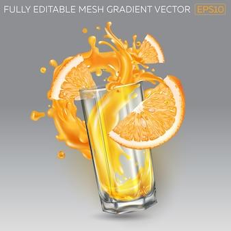 Splash de jugo de fruta en un vaso y rodajas de naranja.