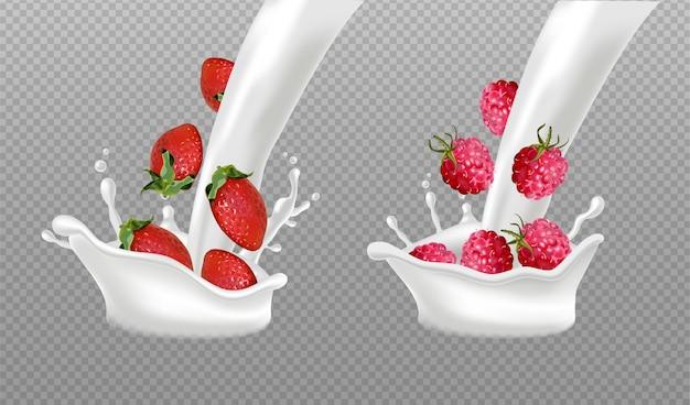 Splash de leche con frutos del bosque.